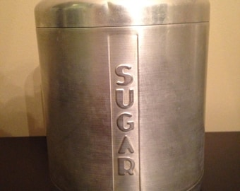 Vintage 1950s Aluminum Sugar canister VERY GOOD CONDITION