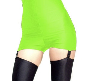 High waisted neon green spandex shorts hot pants  black suspenders