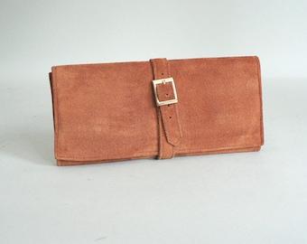 Vintage Leather Pocket Folio Checkbook Credit Card Wallet