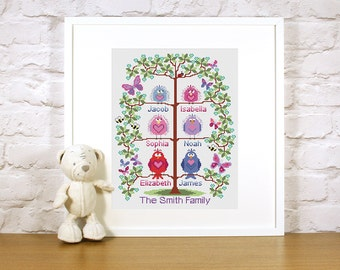 Cross stitch Family Tree for 6 - cute birds easy stitch fun modern design, wedding or to welcome a new baby - pattern PDF - INSTANT DOWNLOAD