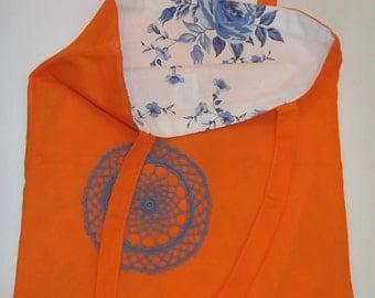 Market bag, Eco cotton bag, Crochet flower bag, Crochet shopping bag, Orange cotton bag, Book bag, Reusable bag, Canvas tote bag