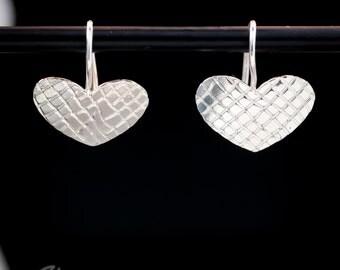 "sterling silver 1/2"" textured heart disc earrings"