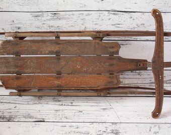 Vintage 1920s Flexible Flyer Wood Snow Sled 1C Children's Toy Red Metal Base Wooden Handle Steering Eagle Painted Graphics S.L.A. &  Co. Inc