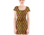 African Kente Short Sleeve Bodycon Dress
