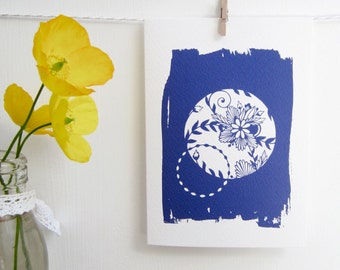 Set of 4 Cyanotype Cards, Sun Print Cards, A6 Floral Patterned Notecards, Cyan-Blue Flower Prints