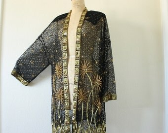 Plus Size Vintage Mesh Sequin Beaded Jacket Size 20 to 26