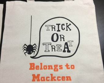 Halloween Trick Or Treat Bag Personalize with Childs Name!