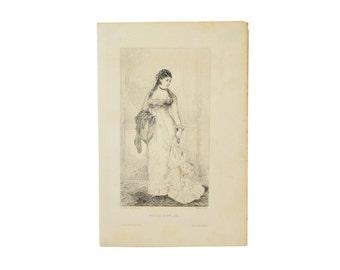 Tiburce De Mare Portrait de Mme L. d'O… Etching Salon de1877