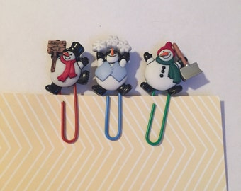 Snowman  Paperclip Bookmarks / Christmas Paperclip Bookmarks / Set of 3