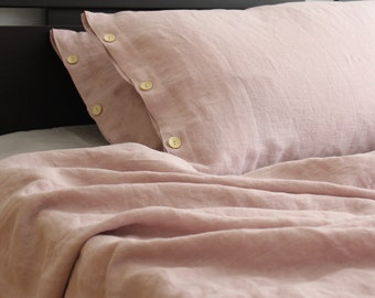 Two buttoned very soft pink linen pillowcases in handmade and made to order