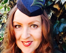 Heart shaped straw hat, fascinator, Valentine, vintage  retro style, with peacock feather