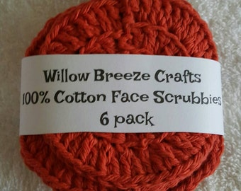 100% Cotton Face Scrubbies! Orange- Pack of 6