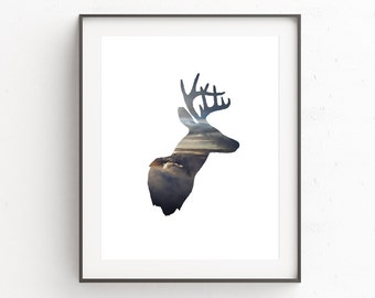 Stag Head Print, Deer Print, Deer Antler Decor, Cloud Photography, Deer Art, Instant Download Printable Art, Animal Art