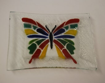 Art Glass Tray with Butterfly Design