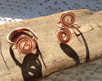 Copper rings, adjustable ring, copper wire ring, wire wrap ring, handmade wire wrapped copper rings