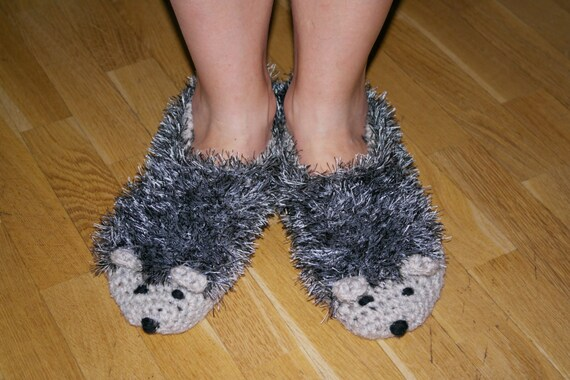 Hedgehog Slippers Knitting Pattern : Hand Knit gray Hedgehog Slippers Shoes by KnittingAndDesign