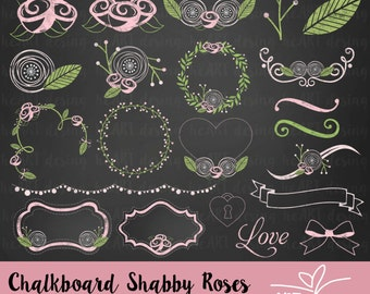 Chalkboard Shabby Roses Clipart / Digital Clip Art for Commercial and Personal Use / INSTANT DOWNLOAD