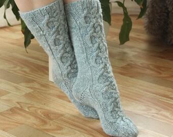 Wool Ankle Socks Wool socks Hand made socks Cable long Socks blue Grey wool socks Warm winter socks aran socks Cable socks