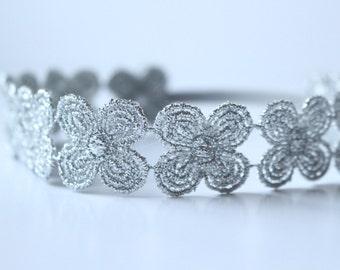Holiday Headband | Silver Headband | Metallic Headband | Silver Floral Headband | Holiday Crown