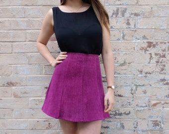 Vintage 70s Style Berry Coloured Suede Leather Mini Skirt
