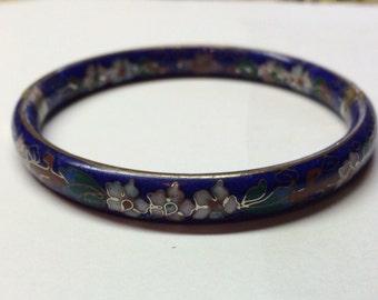 Vintage cloisonné blue glass hinged bracelet