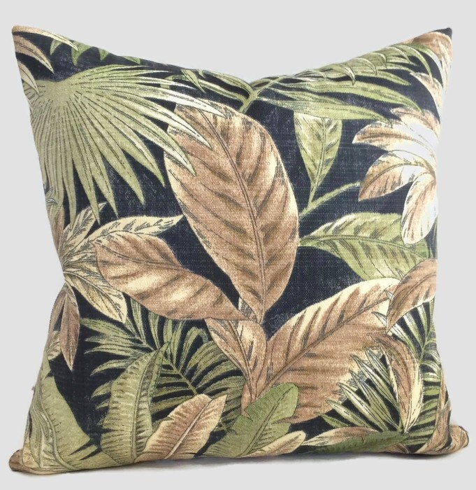 Tropical Pillow Black Brown Green Tommy Bahama Palm Indoor