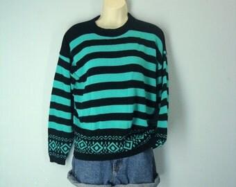 Vintage 80s Southwest Sweater, Green Black Striped Sweater, Southwestern Sweater, Slouchy Sweater