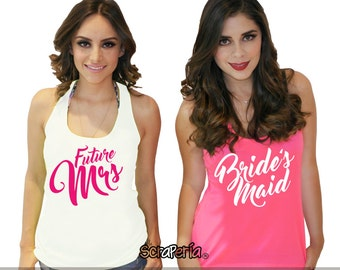 "Bachelorette Party Tank Top ""future mrs/bridesmaid"" - White & Neon Pink"