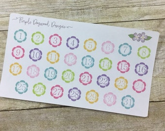 Solid color flower date life planner stickers!