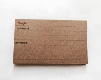 Set 25 - wedding favors - Gift idea - rustic recipe cards - vintage recipe card - index card recipe - rustic wedding flavor - for her - boho