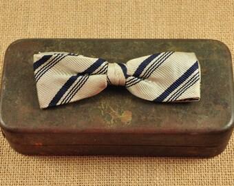Vintage Clip On Bow Tie-Retro Bow Tie-Royal Clip On-Striped Bow Tie