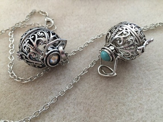 ON SALE 20% OFF. Magic Music Box Locket. Silver Filigree Cage Locket. Wear with Harmony Ball or Lava Stone for Essential Oils.