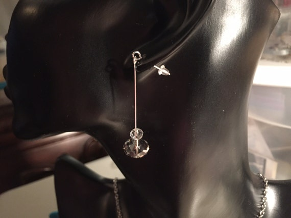 Crystal Drop Earrings with Sterling Silver Ear Wires and Option for Plain Post Style or Hook with Lava Stones for Essential Oils