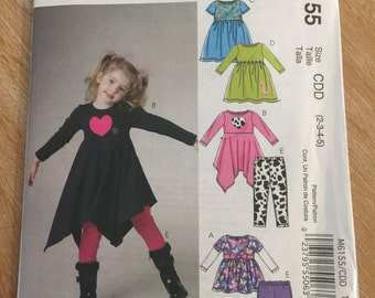M6155 McCall's Girl's Tops, Dresses and Leggings Pattern P220