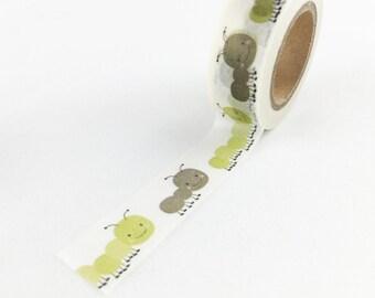 Cute Little Caterpillar Pattern Washi Tape // 15mm // Paper Tape // BBBsupplies {CR-W-P430}