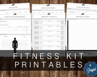 FITNESS KIT PRINTABLES - 6 Page Kit - Instant Download!