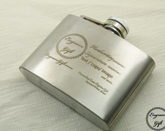 Custom Personalized 4oz Steel Flask Wedding Favor , Your Handwriting, Text, Logo