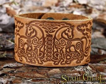 Leather  Bracelet Cuff Wristband Horses Celtic Knotwork Talisman Amulet  Carving Leather