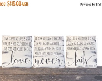 ON SALE 1 Corinthians 13 - Wood Signs - Wood Signs Wedding - Wood Sign Scripture - Wood Signs Love - Wedding Gift - Wedding Signs - Bible Ve