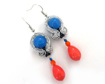 SALE Small Colorful earrings oriental earrings soutache very colorful earrings orange  blue beaded earrings gypsy clip on silver dangle