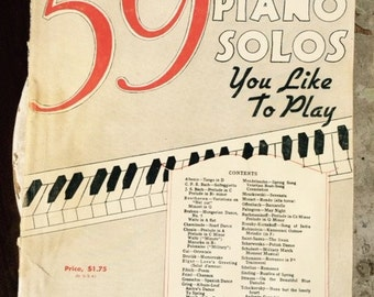 Paperback Fifty-nine Piano Solos You Like to Play, Vintage, G. Schirmer, Inc. 1936