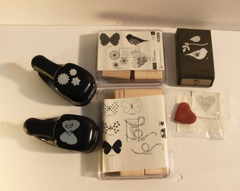 HUGE Lot- Hard to Find-Stampin Up Stamp Sets and Punches-Boho Blossom-Flight of the Butterfly-Bird Builder-Love Heart-Language of Friendship