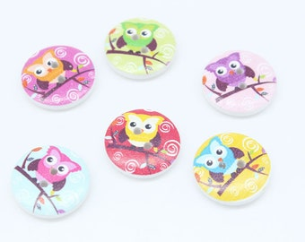 Wooden Owl Buttons - Set of 10 Owl Crafting Sewing Buttons
