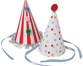 Party hats:  Set of 8.  Birthday hats.  Striped party hats.  Polka dot birthday hat.  First birthday hat.  Circus party hat.