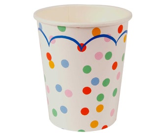 Polka dot Paper Party Cups.  Set of 12.  Rainbow party paper cups.  Circus party paper cups.  Birthday paper cups.  First birthday cups.