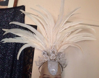 Rhinestone Pearl Gem White Feather Costume Headpiece Headdress