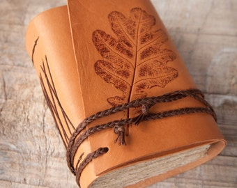 Leather Journal With Oak Leaf, Handbound Journal, Leather Diary, Notebook