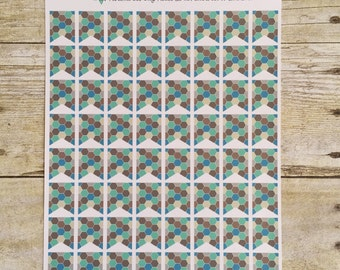 Hexagon Blues and Browns Planner Stickers Small Flags F230