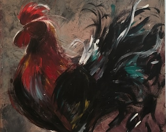 Rooster Painting on Wood Panel Original Art Farmhouse Rustic