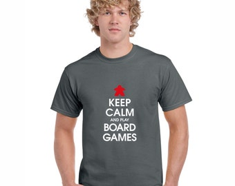 Keep Calm and Play Board Games Dark T-shirt | Meeple Tshirts for Board Game Geeks and Tabletop Gamers | Modern Boardgamer Tees